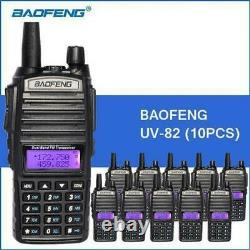 10PC Baofeng UV-82 Dual Band 2-Way Radio 136-174MHz VHF & 400-520MHz UHF (Black)