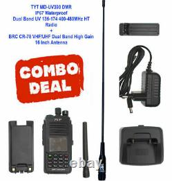 Combo TYT MD-UV390 136-174MHz/400-480MHz DMR WithGPS with High Gain Antenna